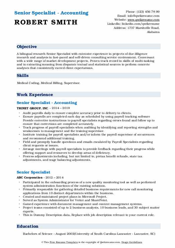 Senior Specialist - Accounting Resume Model