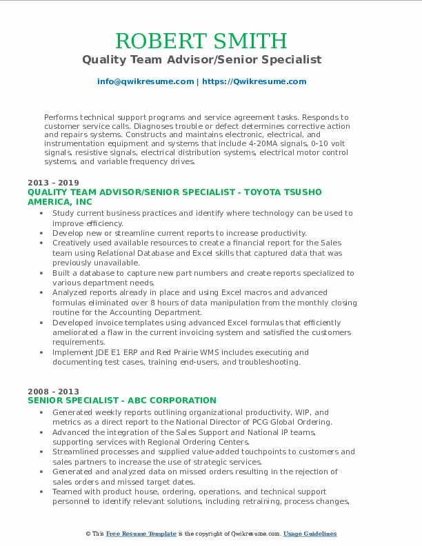 Quality Team Advisor/Senior Specialist Resume Example