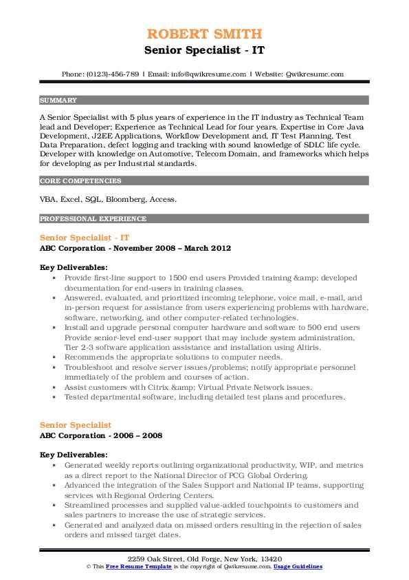 Senior Specialist - IT Resume Model