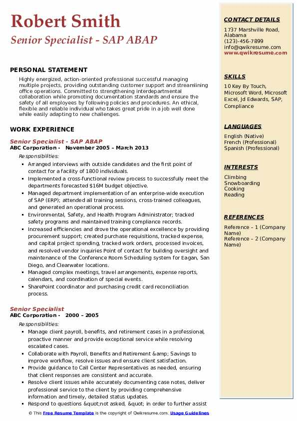 Senior Specialist - SAP ABAP Resume Format