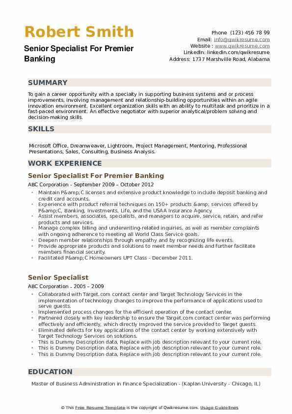 Senior Specialist For Premier Banking Resume Format