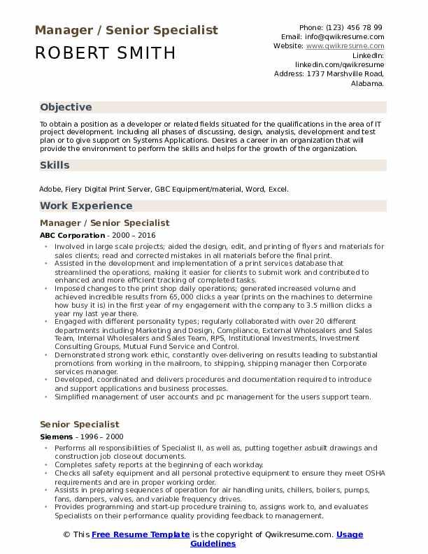Manager / Senior Specialist  Resume Sample