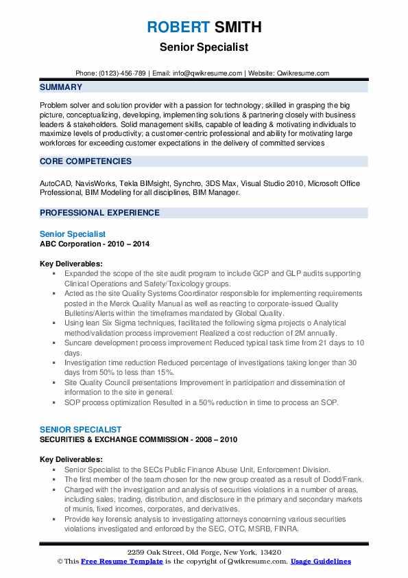 Senior Specialist Resume Template