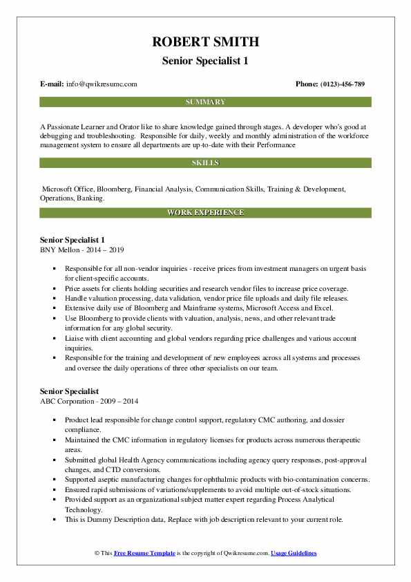 Senior Specialist 1 Resume Model