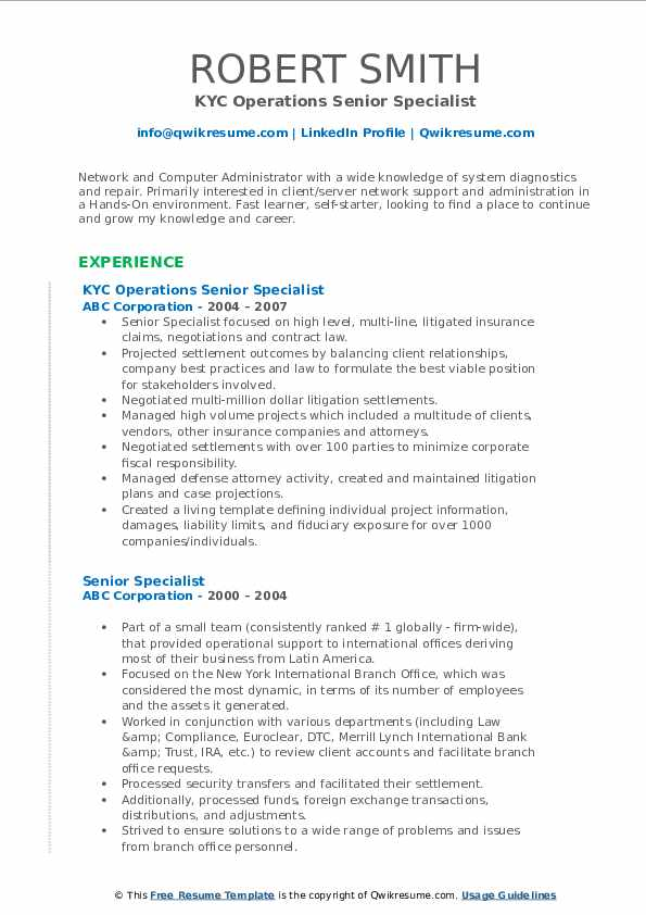 KYC Operations Senior Specialist Resume Sample
