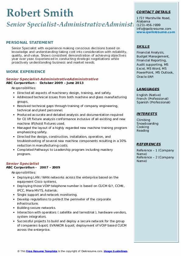 Senior Specialist-AdministrativeAdministrative Resume Sample