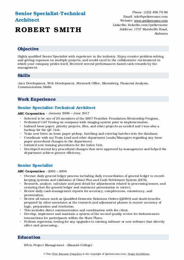 Senior Specialist-Technical Architect Resume Format