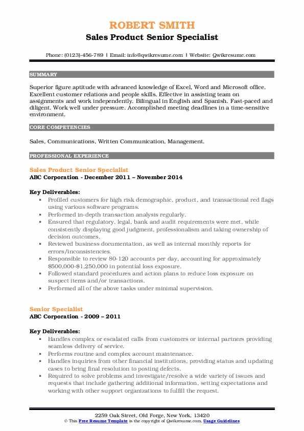Sales Product Senior Specialist Resume Format