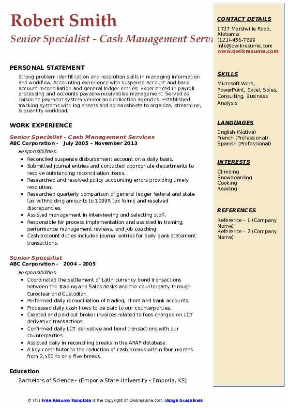 Senior Specialist - Cash Management Services Resume Example