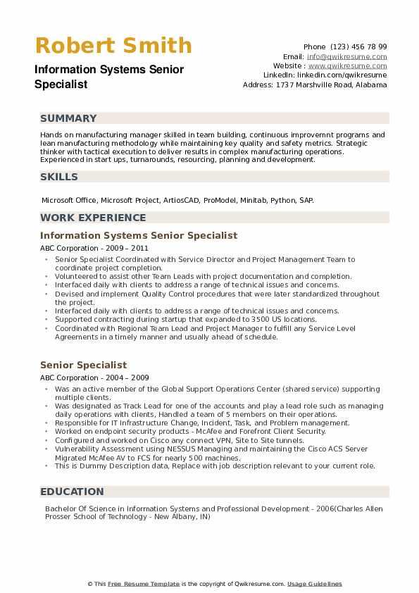 Information Systems Senior Specialist Resume Sample