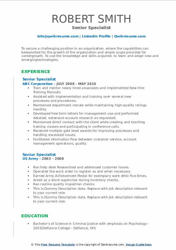 Senior Specialist Resume example