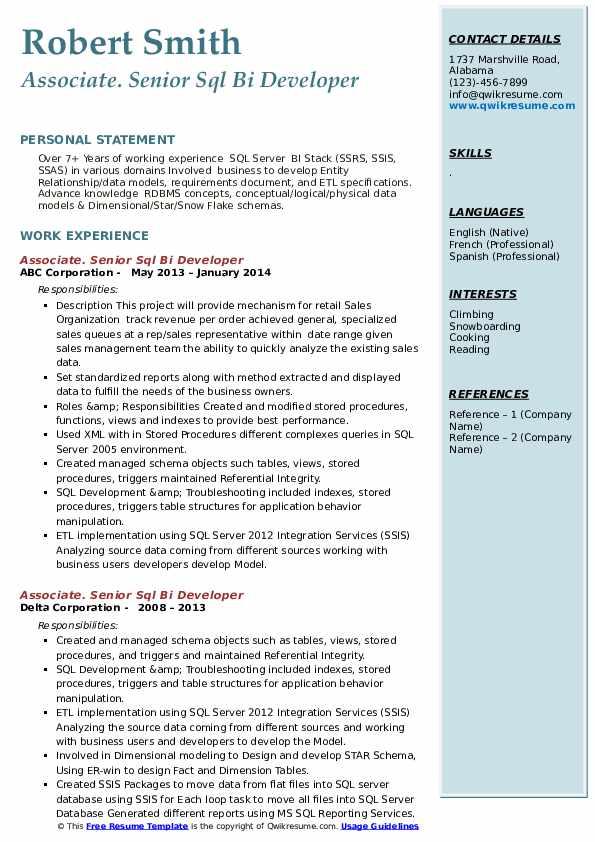 senior sql bi developer resume samples  qwikresume