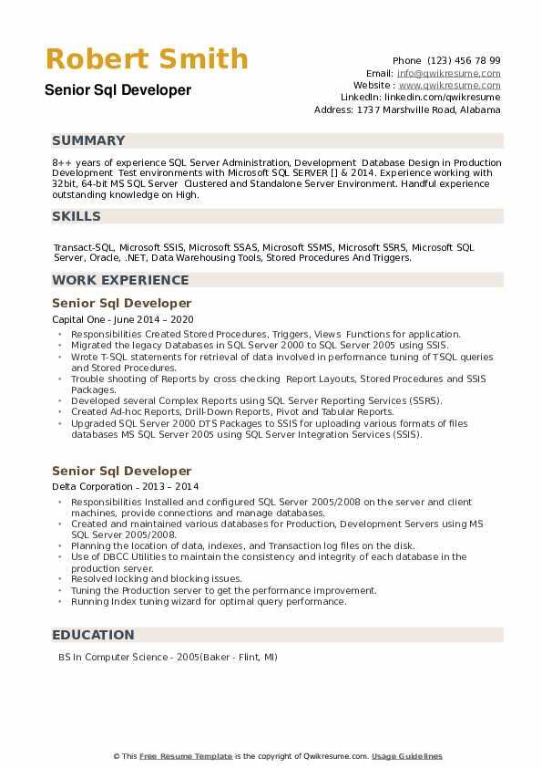 Senior SQL Developer Resume example
