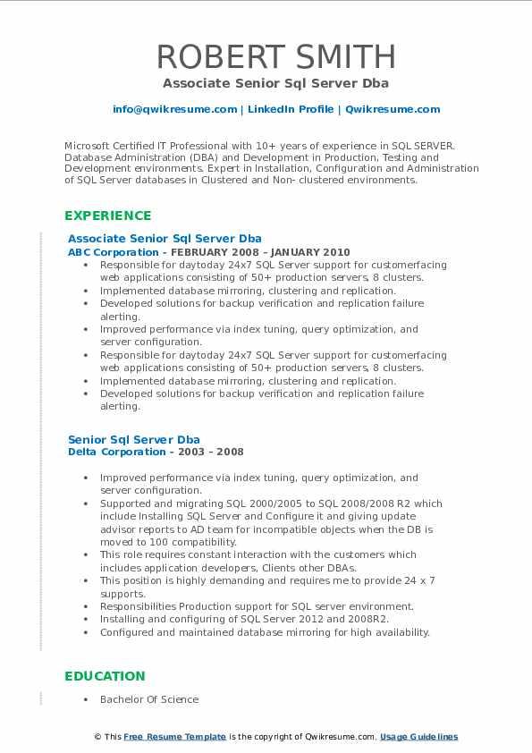 senior sql server dba resume samples  qwikresume