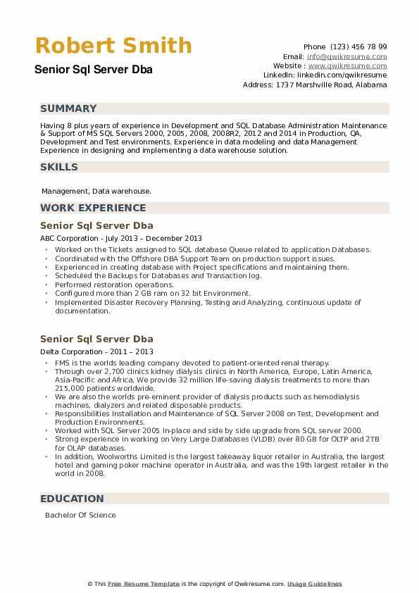 Senior SQL Server DBA Resume example