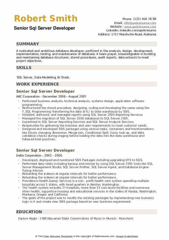 Senior SQL Server Developer Resume example