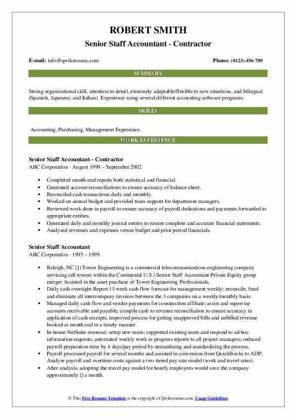 Senior Staff Accountant - Contractor Resume Sample