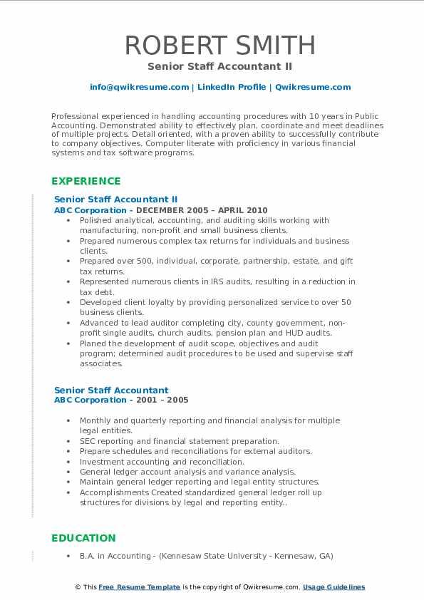 Senior Staff Accountant II Resume Sample