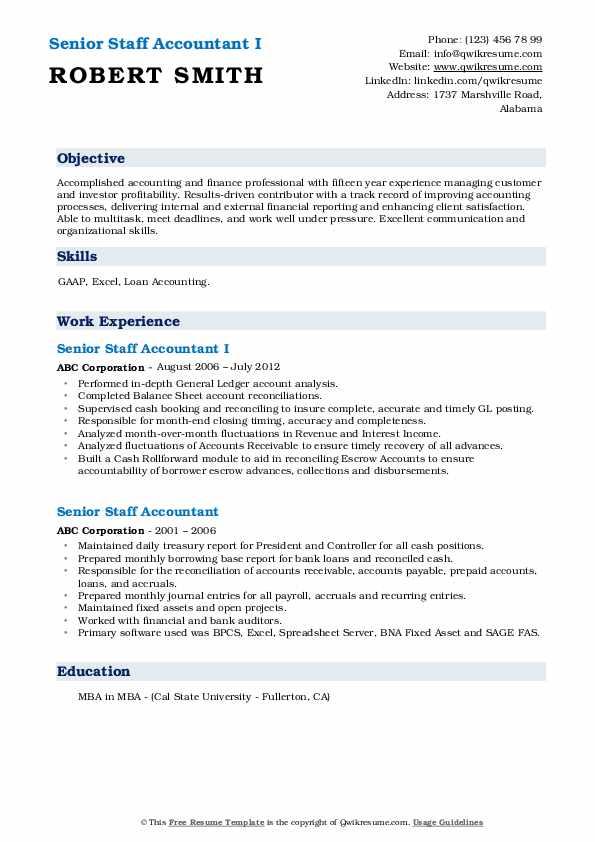 Senior Staff Accountant I Resume Format