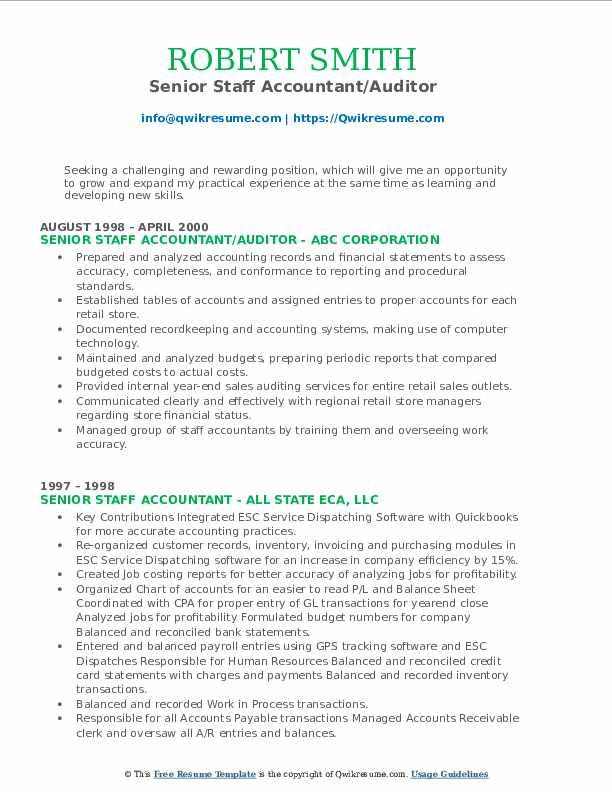 Senior Staff Accountant/Auditor Resume Model