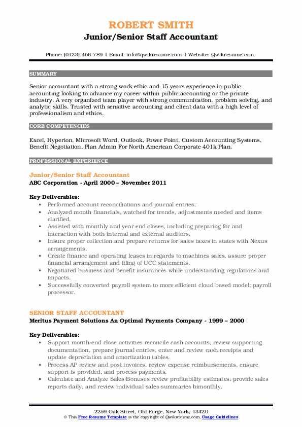 senior staff accountant resume samples
