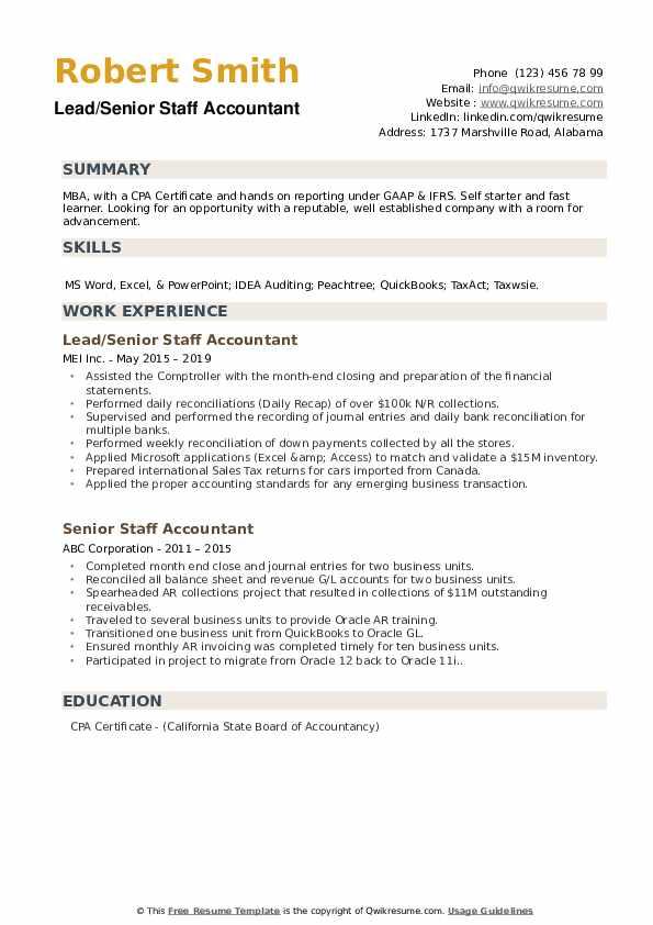 Lead/Senior Staff Accountant Resume Model