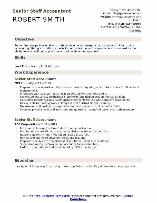 Senior Staff Accountant Resume example