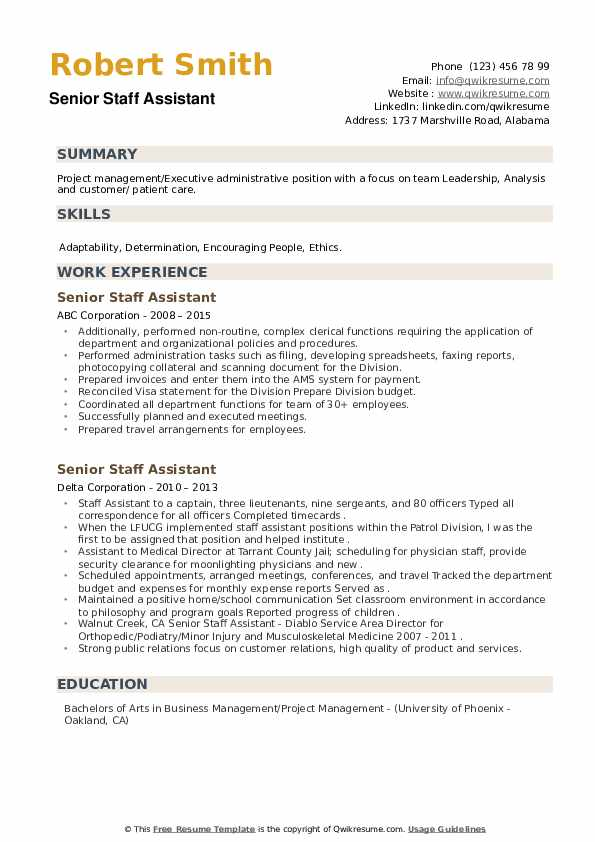 Senior Staff Assistant Resume example