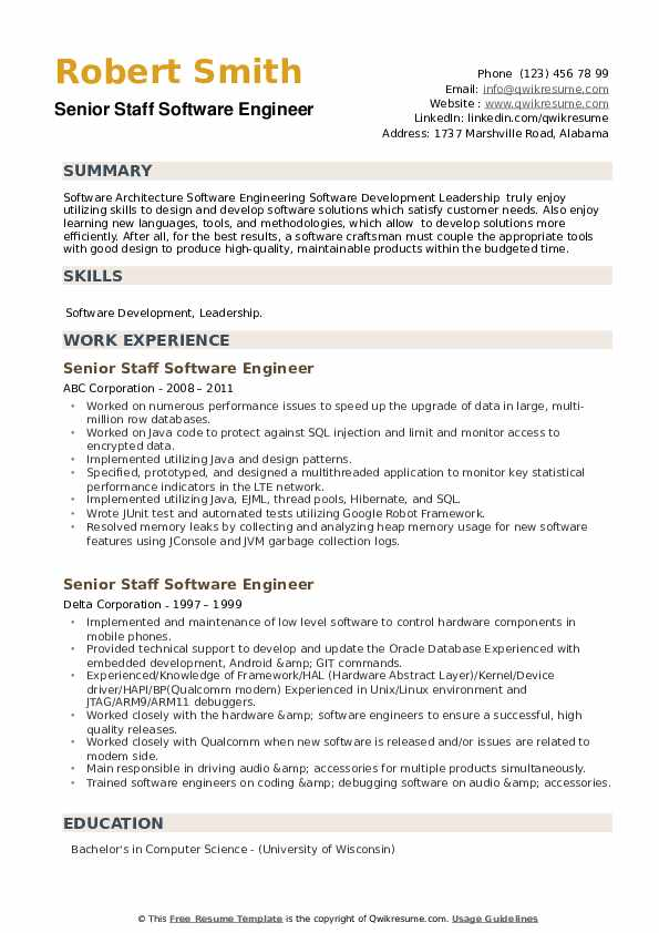 Senior Staff Software Engineer Resume example