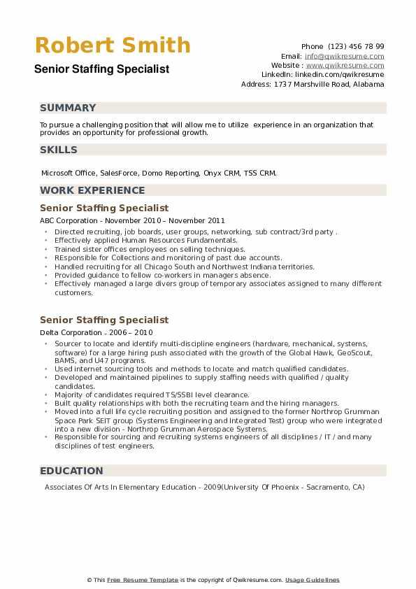Senior Staffing Specialist Resume example