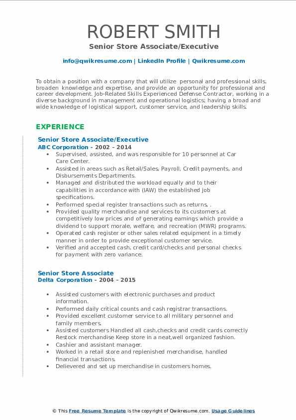 senior store associate resume samples  qwikresume