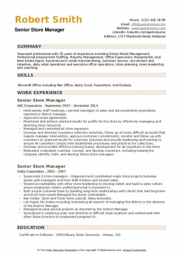 Senior Store Manager Resume example