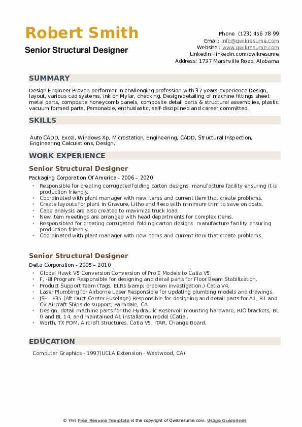 Senior Structural Designer Resume example