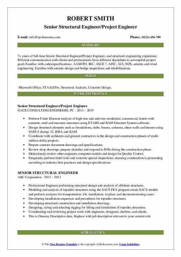 Senior Structural Engineer/Project Engineer Resume Model