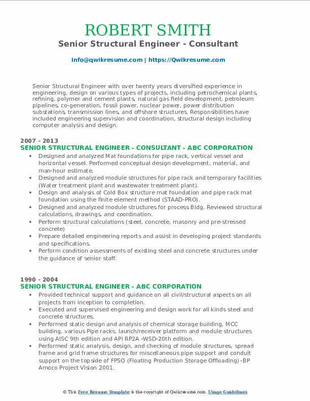Senior Structural Engineer - Consultant Resume Sample