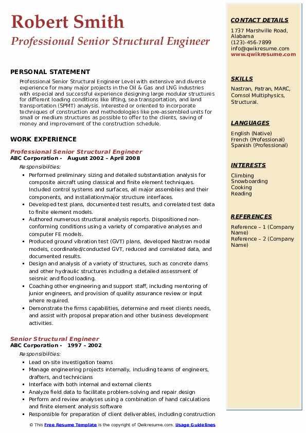 Professional Senior Structural Engineer Resume Format