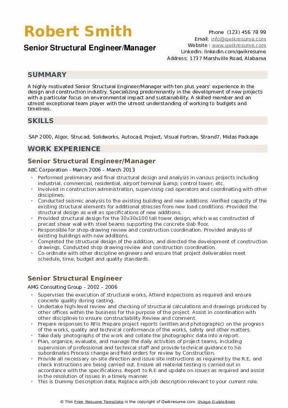 Senior Structural Engineer/Manager Resume Model