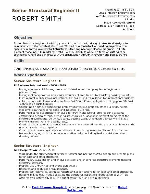 Senior Structural Engineer II Resume Format