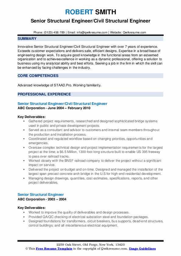 Senior Structural Engineer/Civil Structural Engineer Resume Model