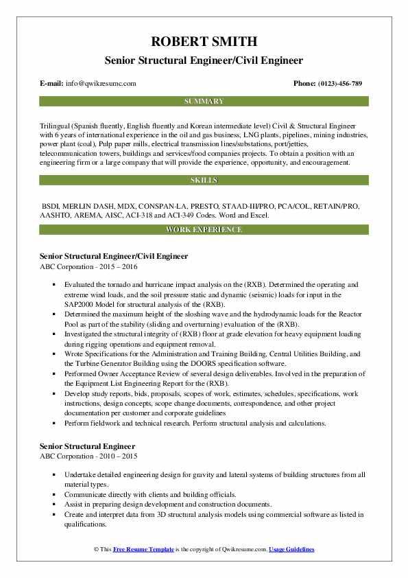 Senior Structural Engineer/Civil Engineer Resume Model