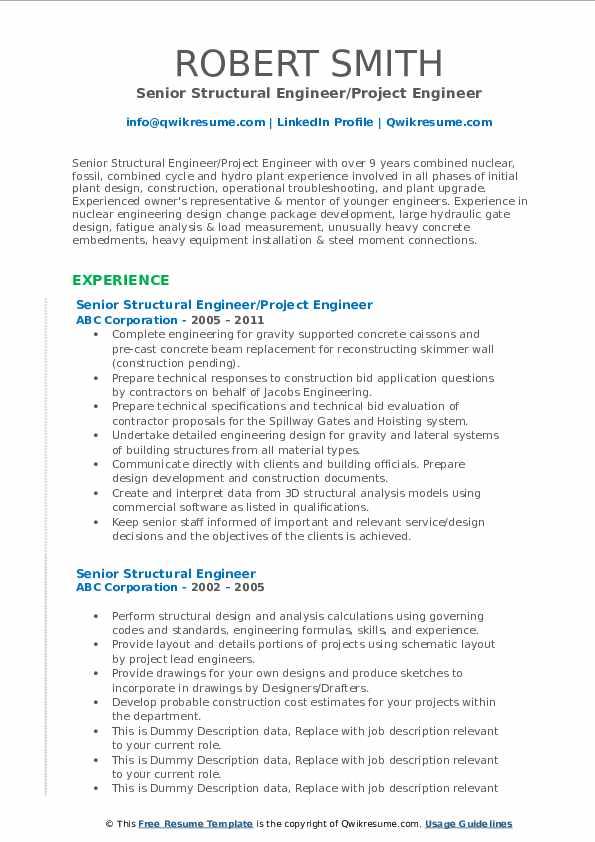 Senior Structural Engineer/Project Engineer Resume Sample
