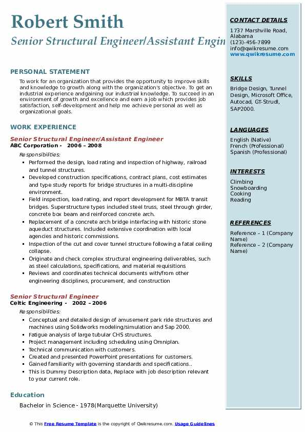 Senior Structural Engineer Resume Samples Qwikresume