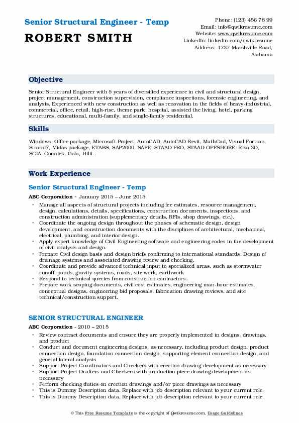 Senior Structural Engineer - Temp Resume Format