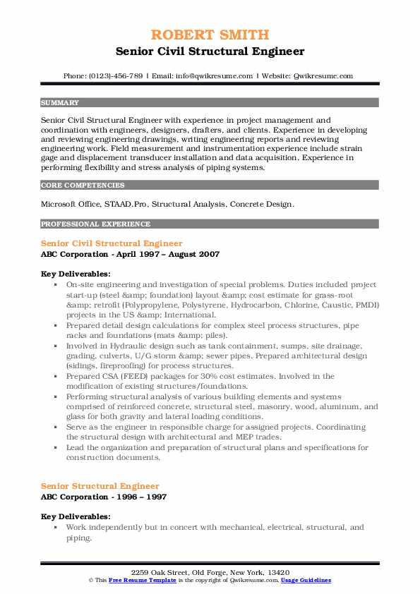 Senior Civil Structural Engineer Resume Format