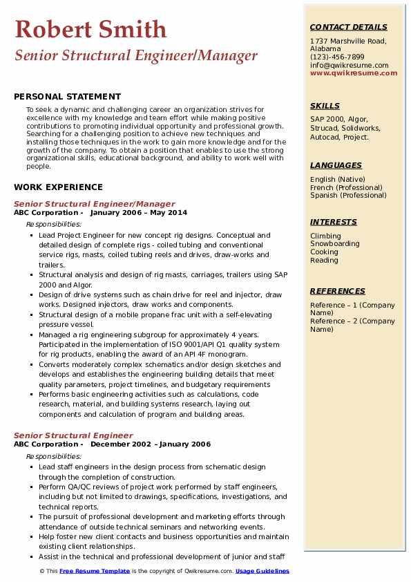 Senior Structural Engineer/Manager Resume Format