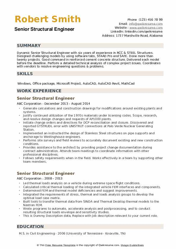 Senior Structural Engineer Resume example