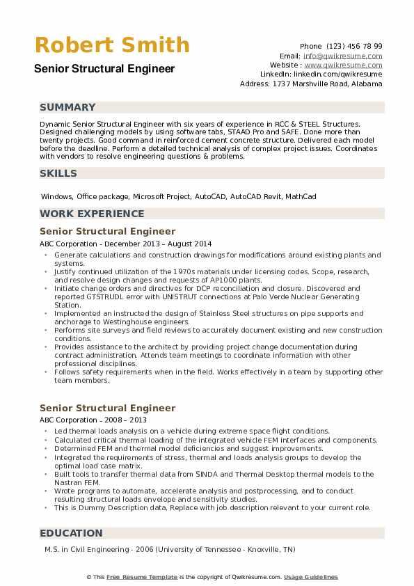 senior structural engineer resume samples