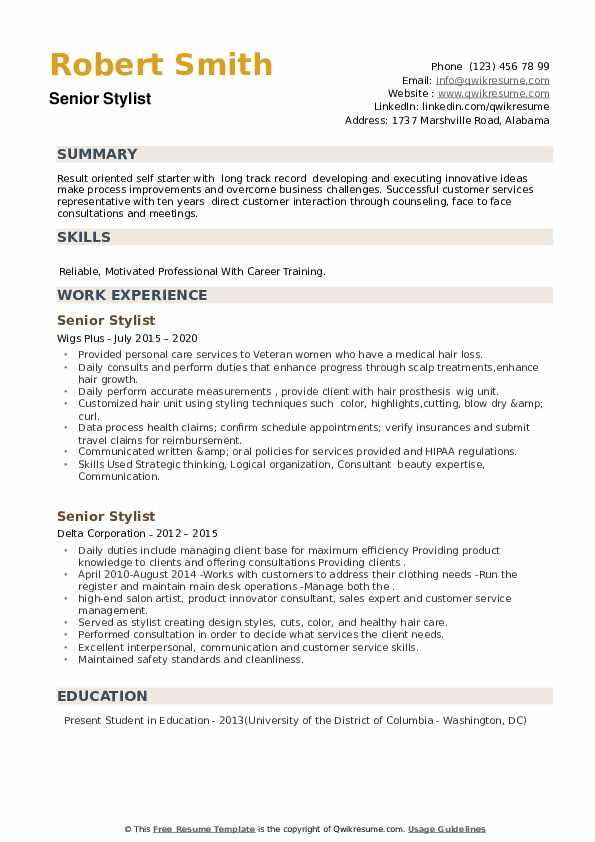 Senior Stylist Resume example