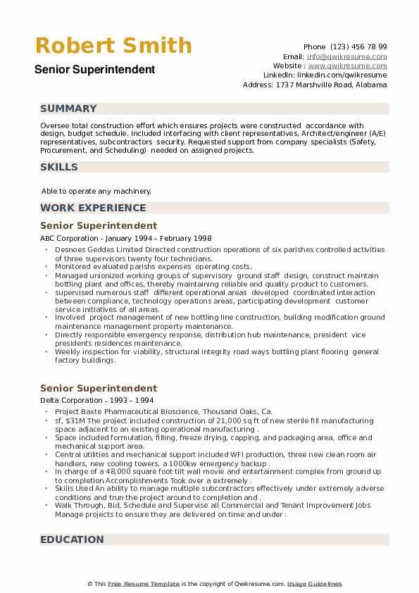 Senior Superintendent Resume example