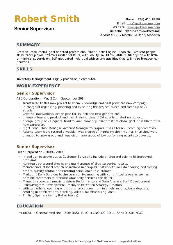 Senior Supervisor Resume example